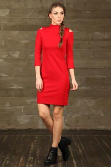 Красное платье с открытыми плечами Mondigo