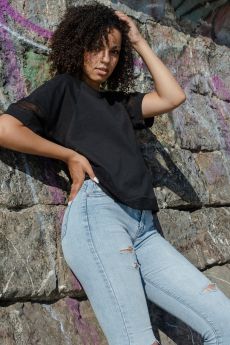 Черная футболка с сеткой Натали