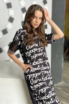 Черное платье с капюшоном Натали