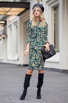 Зеленое платье с открытой спиной RUXARA