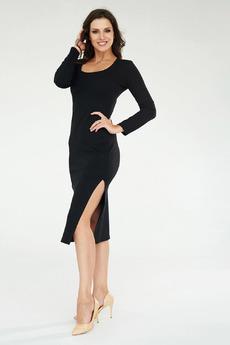 Черное платье с разрезом Angela Ricci