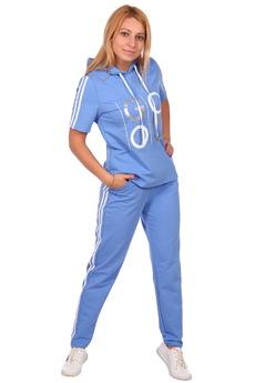 Голубой спортивный костюм с капюшоном ElenaTex