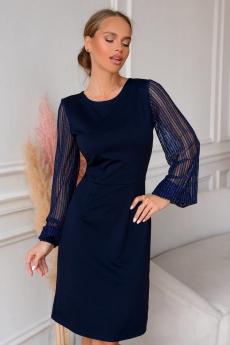 Темно-синее коктейльное платье Open-Style