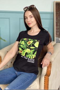 Черная футболка с авокадо Натали